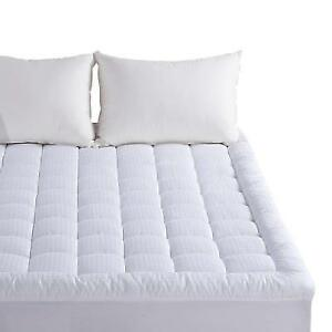 Pillow Top Mattress Pad Cover Queen Size 300tc Down Cotton Quilted Topper 130gsm