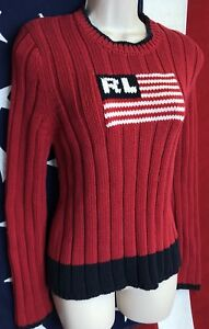 f4fbbe923 Vintage Ralph Lauren Polo USA Flag LOGO Womens Red Ribbed Sweater L ...