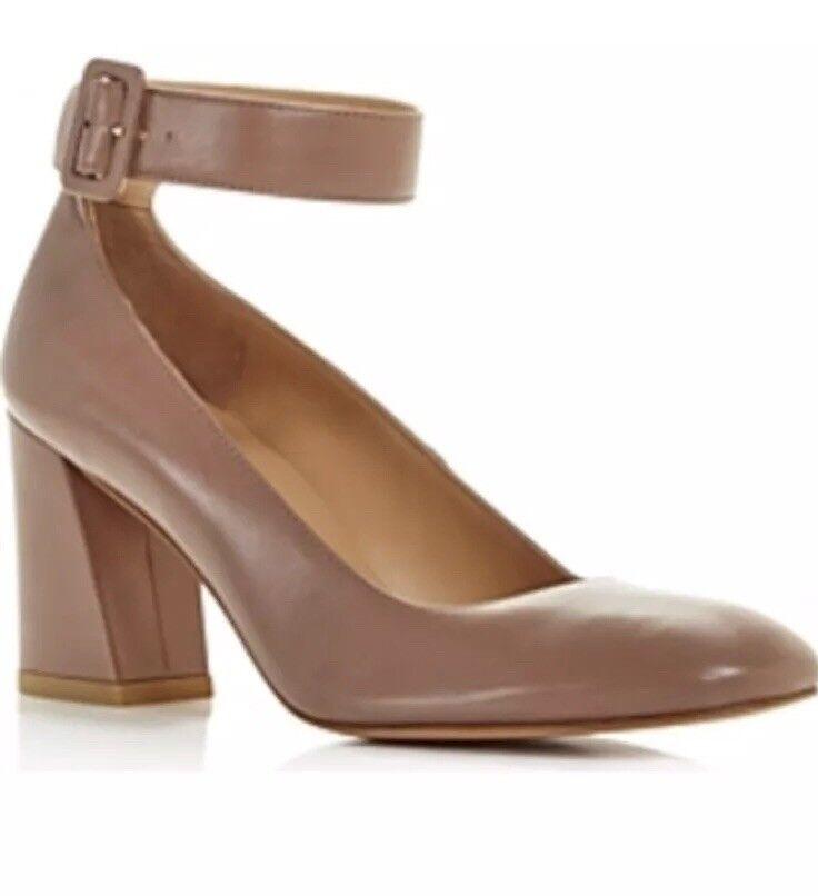 New  425 Stuart Wetizman Clara Mouse Nappa Leather Mary Jane Ankle Heels 5.5 M