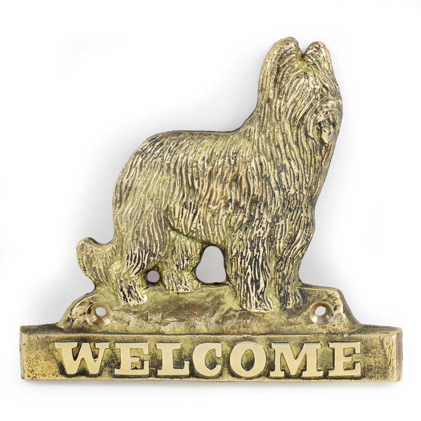 Briard - brass tablet with image of a dog, Art Dog
