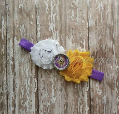 Toddler Minnesota Vikings Elastic Infant Or Adult Sized Headband Bow