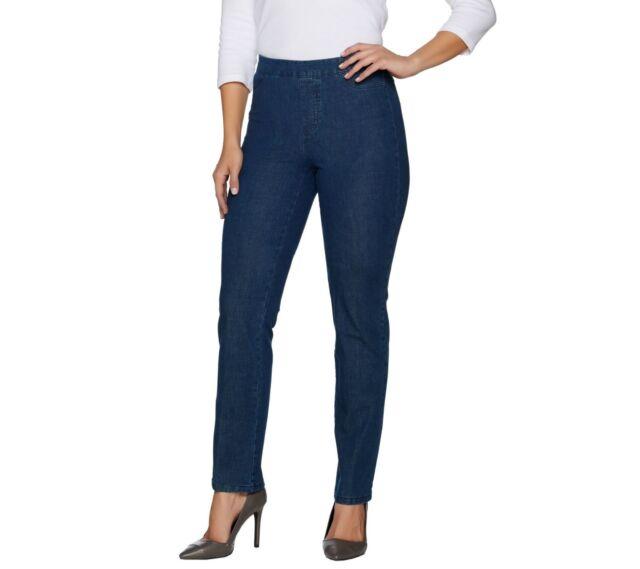 Isaac Mizrahi Women's Regular 24/7 Denim Straight Leg Jeans Indigo Size 12 QVC