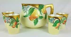 Vintage-TK-Czechoslovakia-Cider-Pitcher-Peaches-amp-Tumblers-Signed
