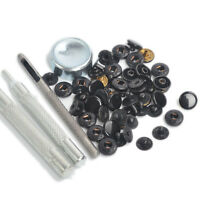 Punch Tool W/15 Sets Black Shinny 10mm Snap Fasteners Button Press Studs Kit Us