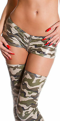 SEXY MICRO SHORTS CAMOUFLAGE LAMPO HOT PANTS ZIP ARMY STRETCHY PANTY CLUB WEAR S