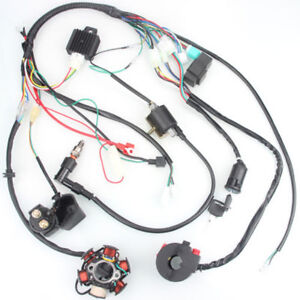 wiring harness kit for atv 6 coil pole ignition 50cc 125cc mini atv complete wiring harness  6 coil pole ignition 50cc 125cc mini