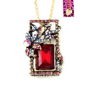 Betsey-Johnson-Crystal-Rhinestone-Square-Pendant-Chain-Retro-Necklace-Brooch-Pin