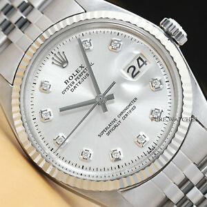 MENS-ROLEX-DATEJUST-18K-WHITE-GOLD-amp-STAINLESS-STEEL-SILVER-DIAMOND-DIAL-WATCH