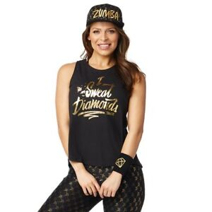 Details about Zumba I Sweat Diamonds Open Back Tank Top Bold Black XL, XXL