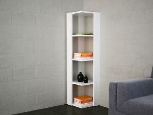Details zu Eckregal Weiß Wandregal Küche Bücherregal modern Standregal  Holzoptik Regal 4293