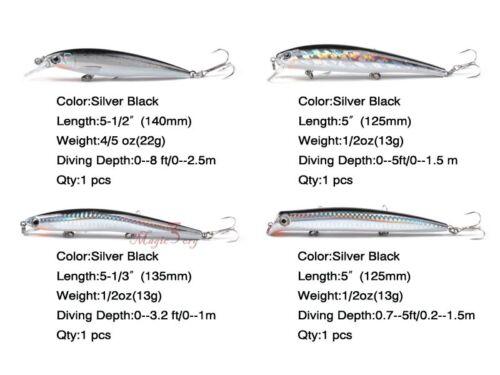 Set Saltwater Fishing Hard Lure Plug Minnow Popper Tackle Crankbait Bass Catfish
