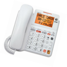 AT&T Corded Standard Home Phone with Answering System and Digital Backlit Display - White