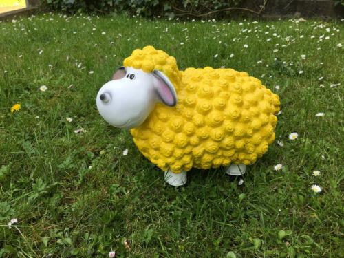 Lustiges Deko Schaf bunt Lamm Gelb Tierfigur Gartenfigur Tier