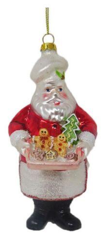 December Diamonds Baking Santa Gingerbread Cookies Glass Christmas Ornament