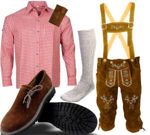 Herren-Trachten-Set-6tlg-Lederhose-mit-Hosentraeger-Hemd-Schuhe-Socken-BLHR01
