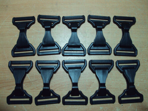 """10 x Black Plastic Snap Swinging Hooks Dog Snap and D Ring For Webbing 40mm /""""B/"""""""