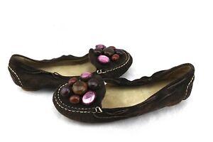 8cac0f4273e MIU MIU Brown Suede Leather Jeweled Faux Rhinestone Loafers Flats ...