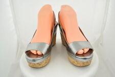 Prada Womens Gray Metallic Platform Wedges Sz 38/8 Leather Casual Heels Shoes