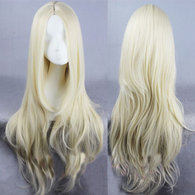 Sexy Long Curly Wavy Hair Women's Full Wig Cosplay Lolita Blonde Synthetic Wigs