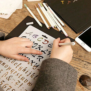 Image is loading Lettering-Stencil-Letter-Alphabet-Stencils -Painting-Paper-Craft-
