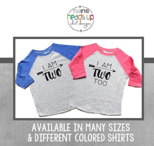 Twin Two Birthday Shirts Raglan Boy Girl I Am Two Too tshirts Bday Tees Trendy
