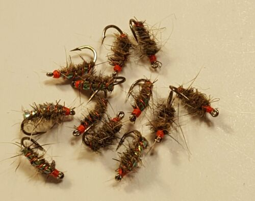 Fly Fishing Flies 12 of Justin/'s Hot Spot Sow Bug Scuds Size 18