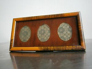 Photo-Frame-Triple-Antique-Art-Deco-Decoration-1930-Wood-Glass-Painted-View-Oval