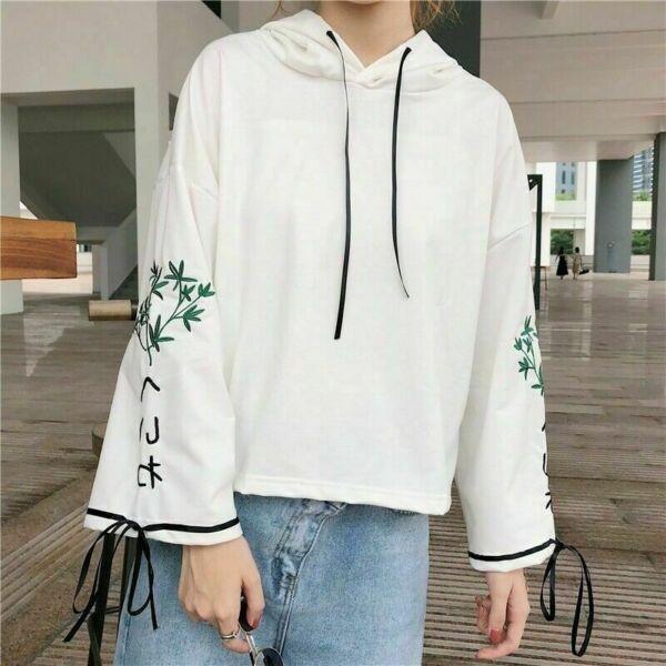 Damen Mädchen Bestickt Kapuze Locker Pullover Japanisch Schnürer Top Kawaii