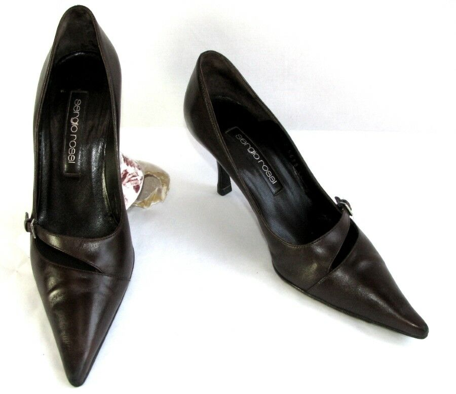 SERGIO ROSSI Court shoes heels 7 cm brown VERY leather 36 VERY brown GOOD CONDITION 4dadd1