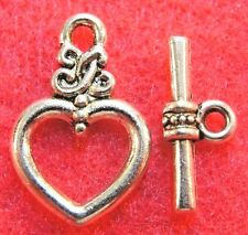 50Sets WHOLESALE Tibetan Silver HEART Toggle Clasps Connectors Hooks  Q0719