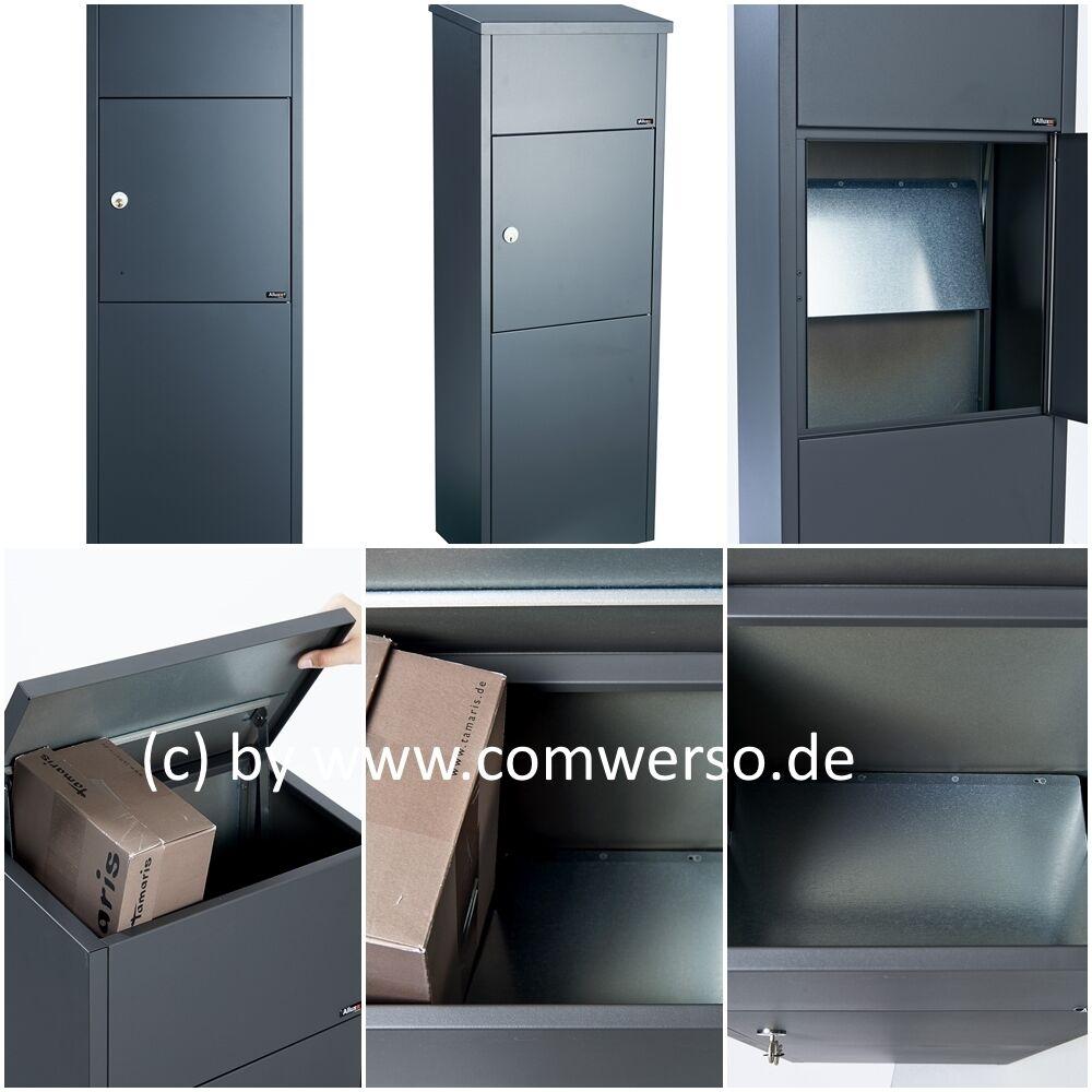 Allux 600 Paketbriefkasten in anthrazit mit Montagefuß in schwarz,Entnahme vorne