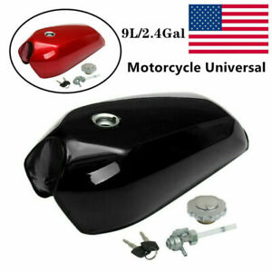 9L/2.4 Gal Motorcycle Gallon Vintage Fuel Gas Tank&Tap Universal Cafe Racer Part