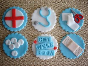 Medical Doctor Nurse Hospital Party Pack 36 Edible Stand-up Cup Cake Toppers