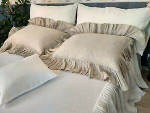 Linen-Pillow-Sham-with-Ruffles-around-Buttons-Closure-Pre-Washed