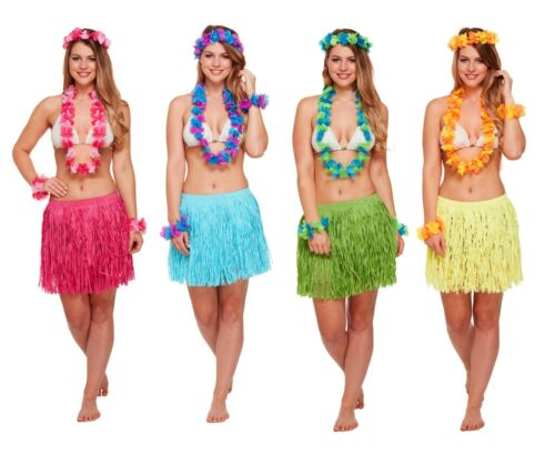 5 PEZZI erba gonna /& Fiore Ghirlande Set Hawaiana Tropical Fancy Dress Party UK