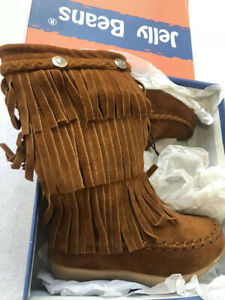Jelly-Beans-BOOTS-little-girls-Sz-S-5-brown-Fringe-Fall-Thanksgiving-NWT