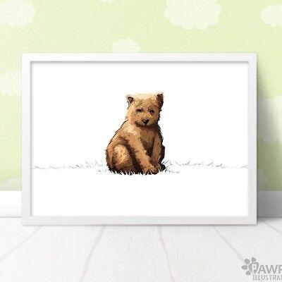 4a201668c4587 Bear Nursery Print | Woodland Animal Wall Art New Baby Gift | Unframed |  eBay