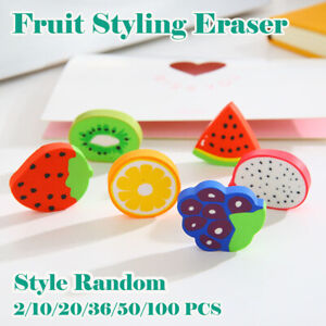 50 x Cute Mini Fruit Shaped Rubber Pencil Eraser Kids School Stationery Novelty