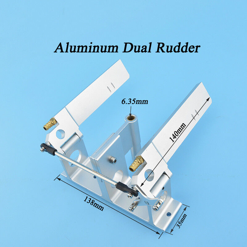 CNC Alloy Dual Rudder with Strut 140mm  For 1/4' 6.35mm Shaft RC Boat Gas O Boat