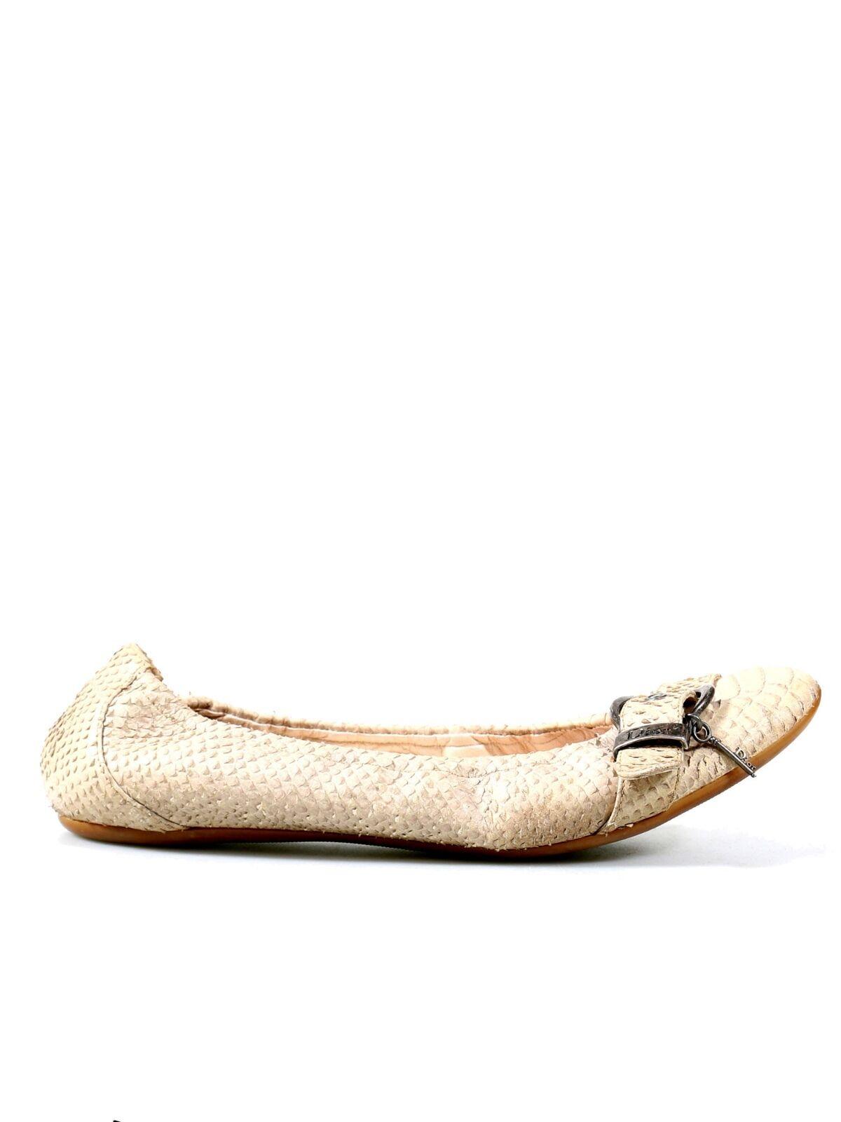 CHRISTIAN DIOR Snakeskin Snakeskin Snakeskin Ballet Flats (SIZE 40) 6835c1