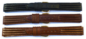 14mm-FLEURUS-BLACK-OR-BROWN-TRI-PAD-HAND-MADE-GENUINE-LEATHER-WATCH-BAND-STRAP