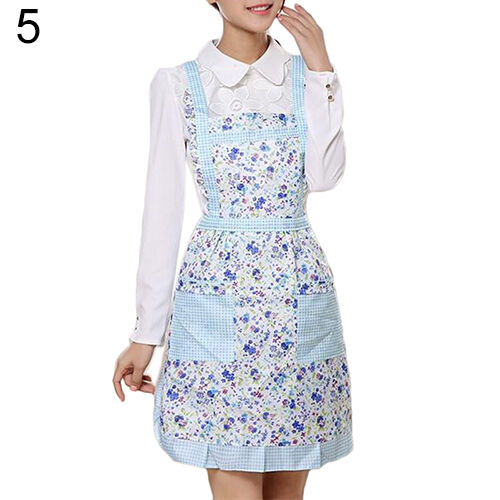 JT/_ Women/'s Princess Apron Bib Cooking Chef Floral Dotted Pocket Kitchen Popul