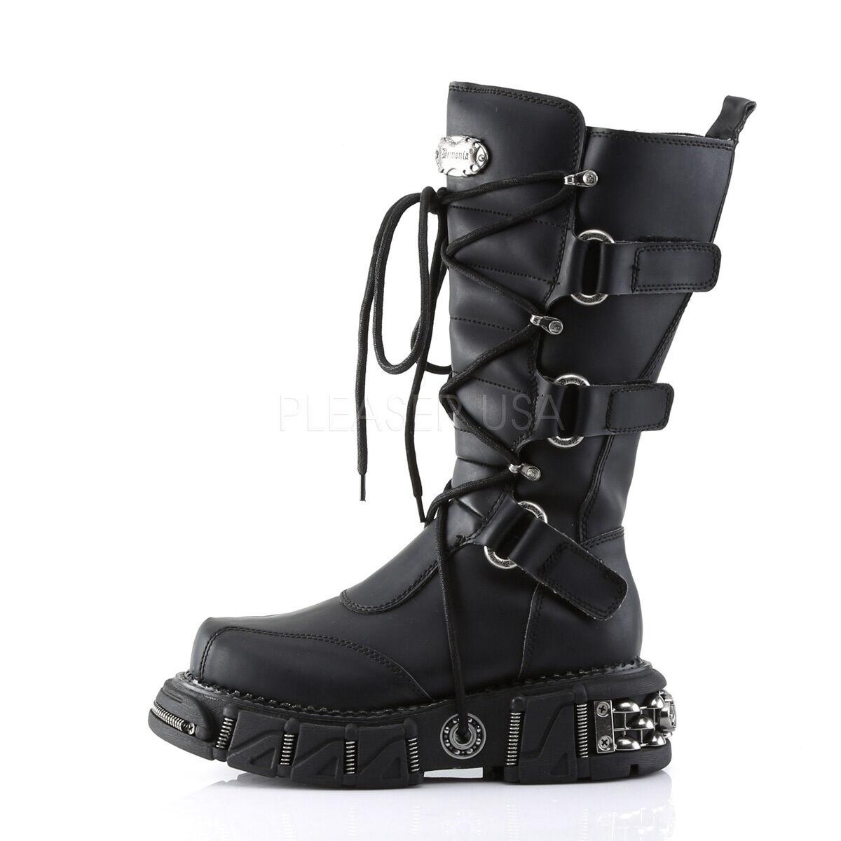 Huge Demonia Platform Multi Strap Industrial Moto Stiefel Rocker Punk Mens 7-13