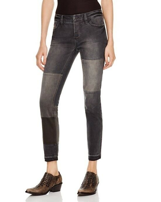 Free People Patched and Relaxed Skinny Jeans in Kite Sz 27