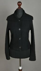 Women-039-s-MARC-CAIN-Knitted-Neck-Jacket-Wool-Black-Button-Down-Size-3