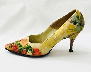 Vintage-Tapestry-Pumps-Mademoiselle-Multi-Color-Brocade-Heels-Shoes-size-8-5