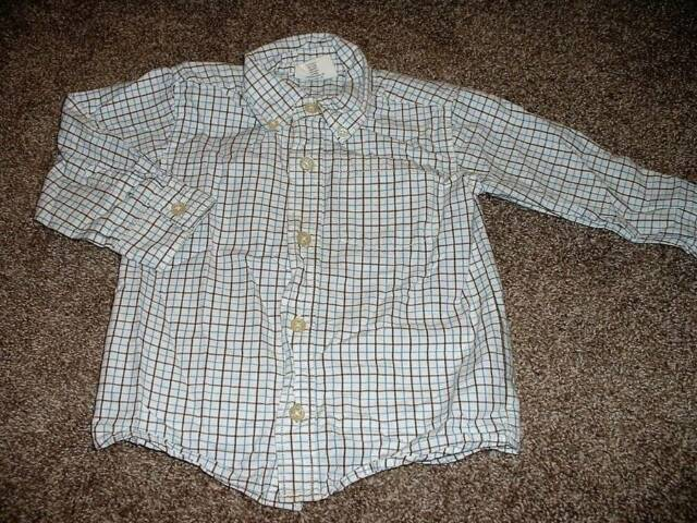Crazy 8 Baby Boys White Blue Brown Plaid Dress Shirt Top Size 18-24 Months mos