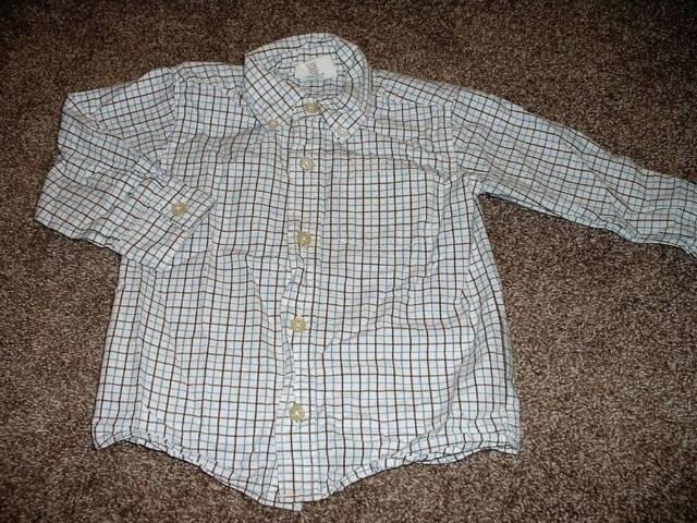Crazy 8 Baby Boys White Blue Brown Plaid Dress Shirt Top Size 18-24 Months mos