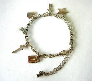 Silvertone-Charm-Bracelet-17cm-Heart-Star-Cross-Die-Lock-Key-Pre-owned