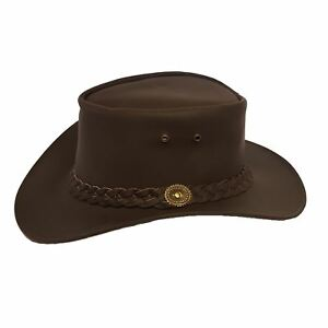 AUTHENTIC OUTBACK LEATHER COWBOY WESTERN AUSSIE STYLE BUSH HAT BROWN LEATHER